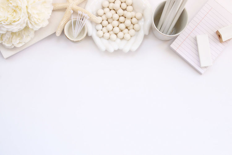 White elegance Background Beautiful Border Bridal Decorations Desk Scene Desk Top Eraser Floral Flowers Frame Marriage  Mock Up Notes Office Office Supplies Overlay Pencils Planning Sea Shells Styled Template Top View Wedding White