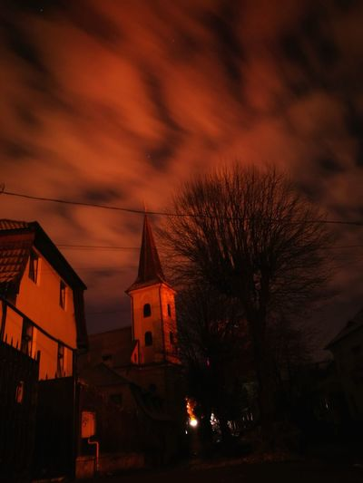 Lights were off , nice time to take a photo ! Night Tree Place Of Worship No People Sky Built Structure City EyeEmBestPics EyeEm Gallery EyeEm Best Shots Sibiu Romania Nightphotography Long Exposure