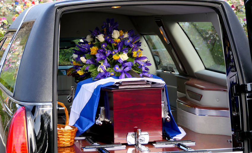 View of coffin in car