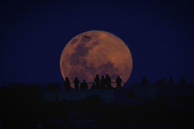 Silhouette people on bridge against full moon at night