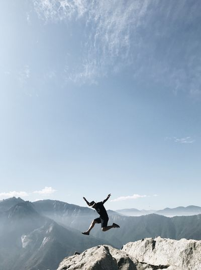 Jump as high as you can Mountain Sky Nature Mountain Range Mid-air Adventure The Great Outdoors - 2018 EyeEm Awards Leisure Activity Cloud - Sky Joy Freedom Scenics - Nature Outdoors Beauty In Nature EyeEmNewHere Be Brave