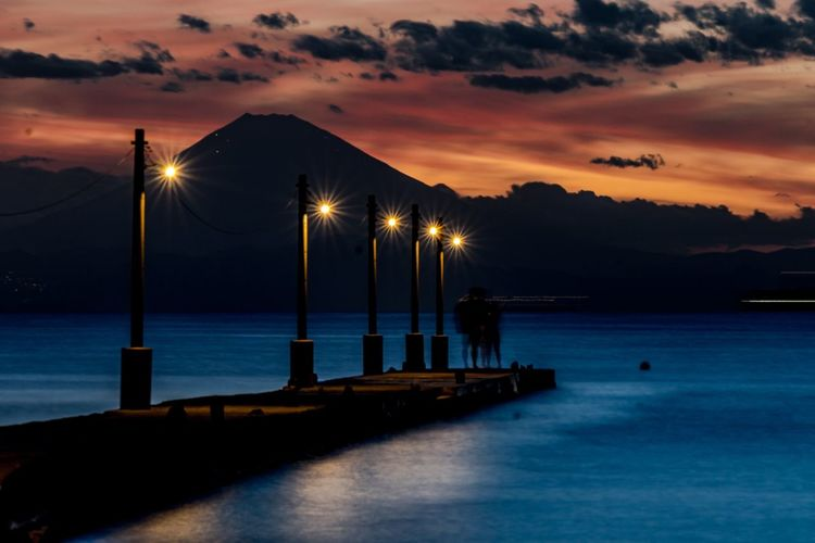 原岡海岸 富士山 Water Sky Sea Illuminated Lighting Equipment Sunset Beauty In Nature