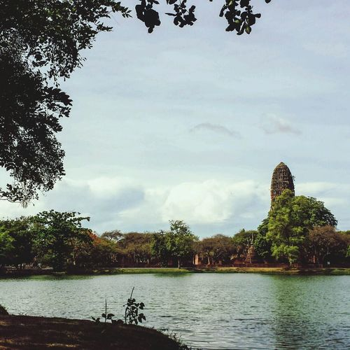 Cloud Sky Blue Sky Sunshine Thailand Southeast Asia Outdoors ASIA Ayutthaya Clouds Temple Ruins Ancient Thai Siam Civilization History Siamese Buddhist Buddhism Stupa Trees Shadow Chedi Pond Miles Away
