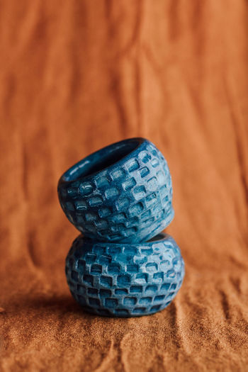 Close-up of blue balls on table