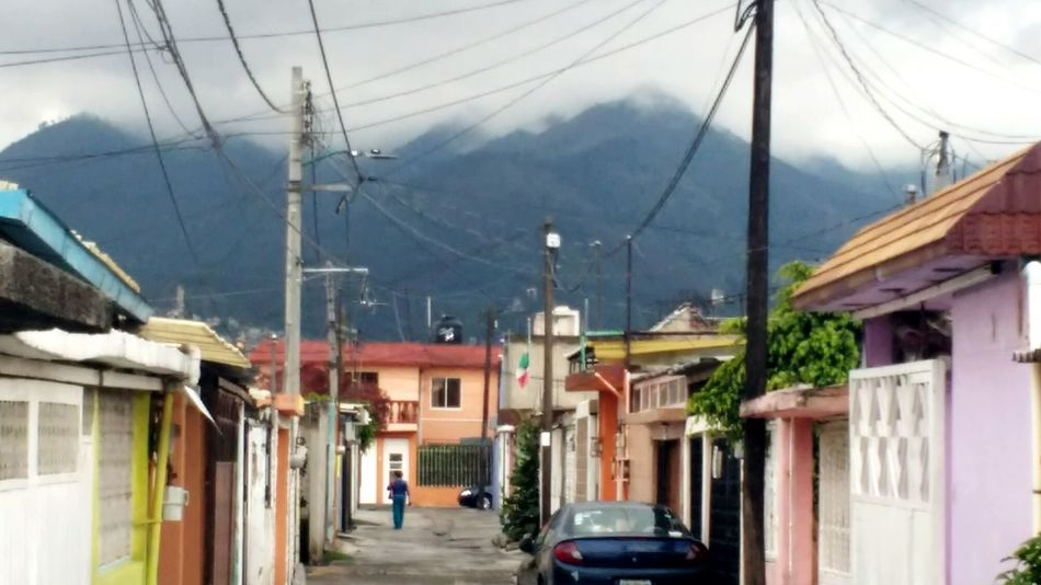 Cable Power Line  Electricity  House Building Exterior Architecture Telephone Pole Outdoors Residential Building Day Sky Telephone Line Clouds Cloudy Winter Mexico Old Town Coacalco Rainy Days Melancholic