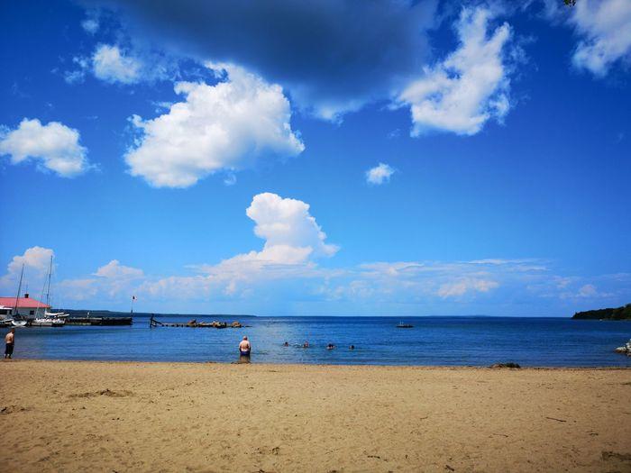 On the beach at Kagawong. A perfect day! Kagawong Manitoulin Island 0ⁿⁿ Water Beach Blue Sand Summer Sun Sky Horizon Over Water