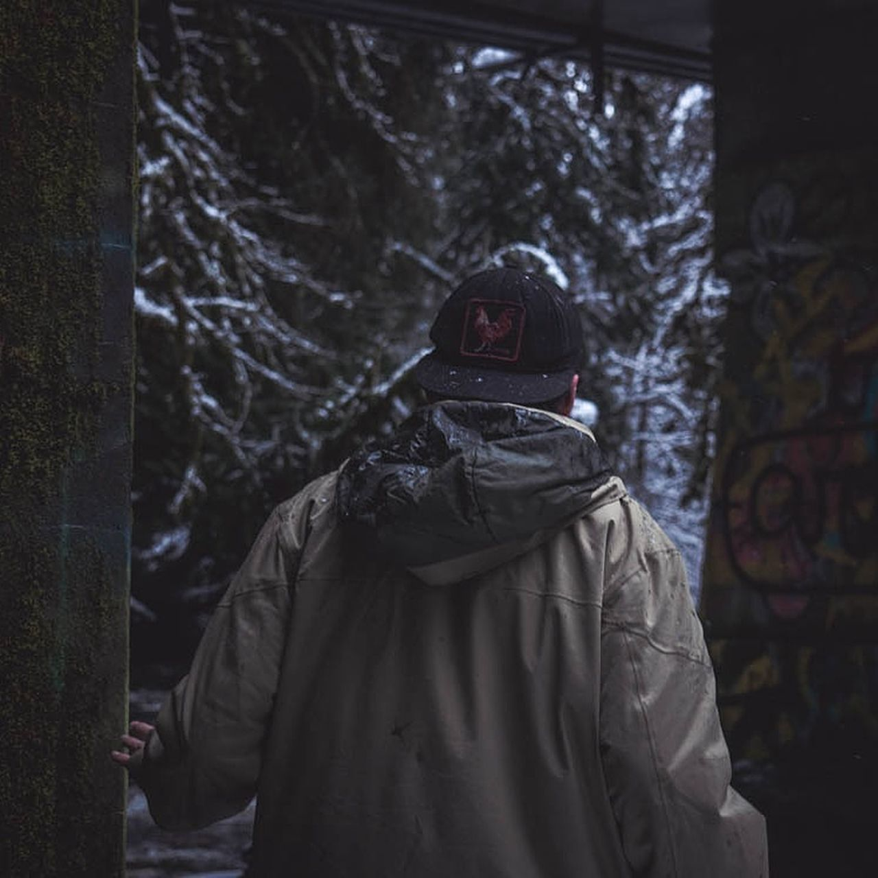 spooky, hood - clothing, real people, night, tree, one person, outdoors, evil, halloween, people