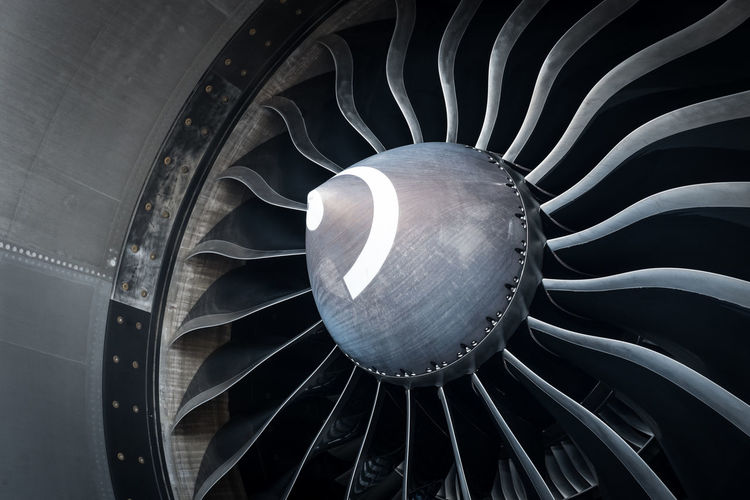 Cropped image of jet engine