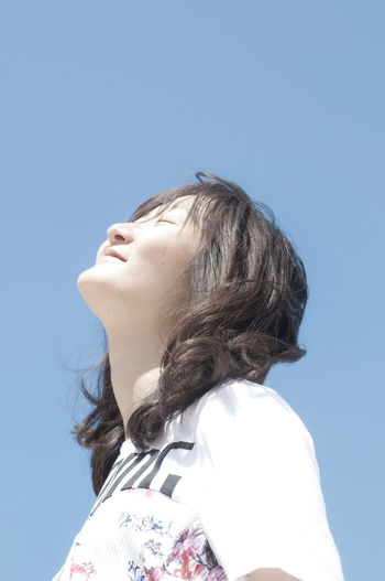 Bluesky Clear Sky Close-up Eyesclosed Headshot Headup Human Face Human Hair Lifestyles One Person Outdoors Real People Side View Sunlight Young Adult Young Women BYOPaper!