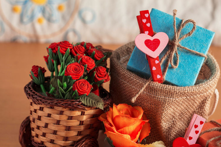 Close-Up Of Gifts On Table
