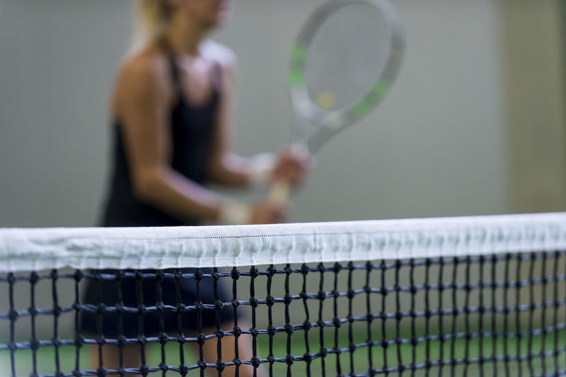 Ball Competition Court Focus On Foreground Holding Net - Sports Equipment One Person Playing Racket Selective Focus Skill  Sport Standing Table Tennis Tennis Tennis Ball Tennis Net Tennis Racket Women