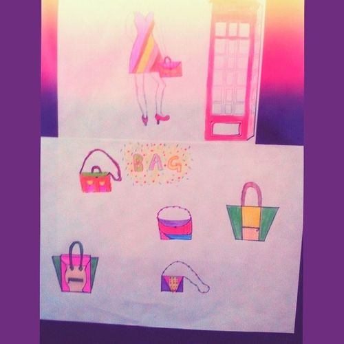 Girl and Bag Red Phone london celinebag celine sac dress Fullcolor draw mydraw drawing mode fachionstreet intheair flow