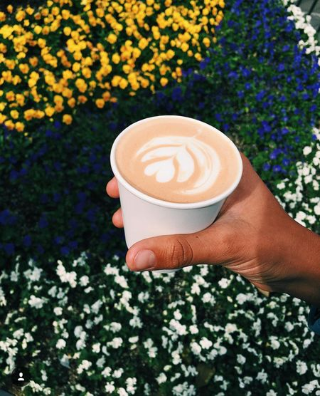 The Grove Human Hand Froth Art Flower Cappuccino Frothy Drink Drink Latte Holding Coffee - Drink Coffee Cup