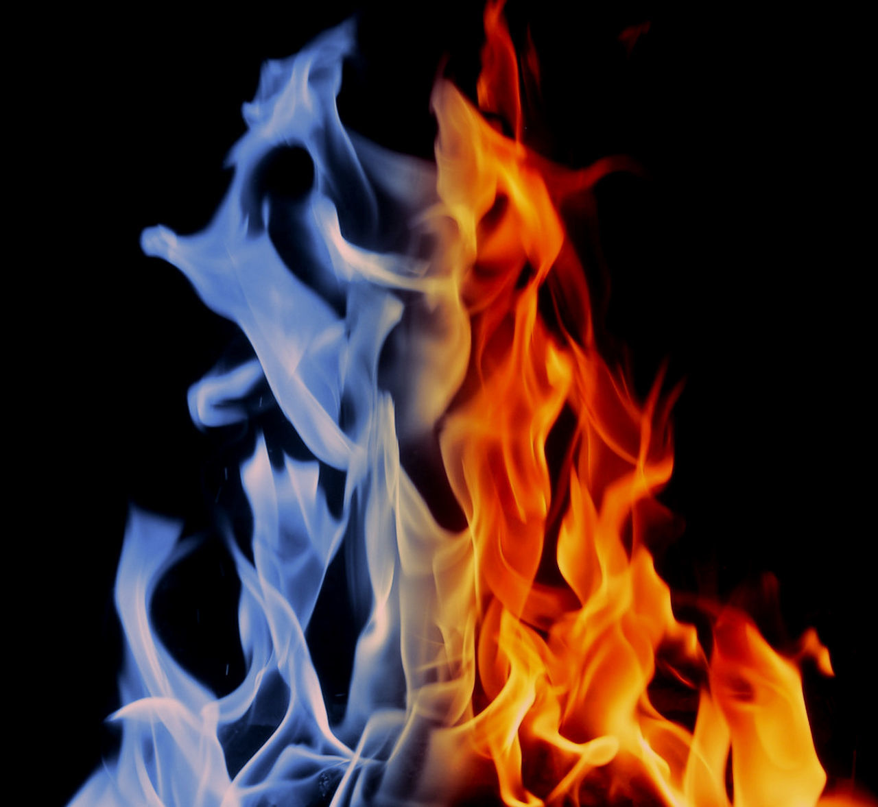burning, black background, flame, close-up, no people, night, motion, heat - temperature, outdoors