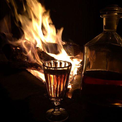Fire Old Bottle Cognac Glass Twilight