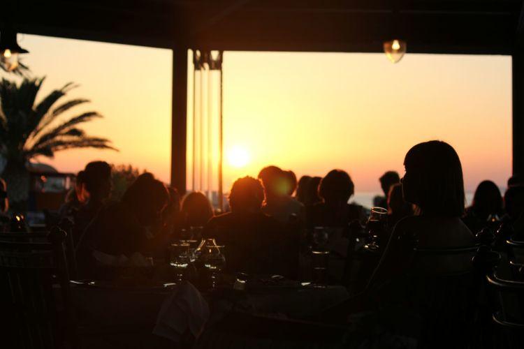 Sunset People Meeting Sky Day Women Sitting Men Beauty In Nature Summer Summertime Paradise Greece, Crete