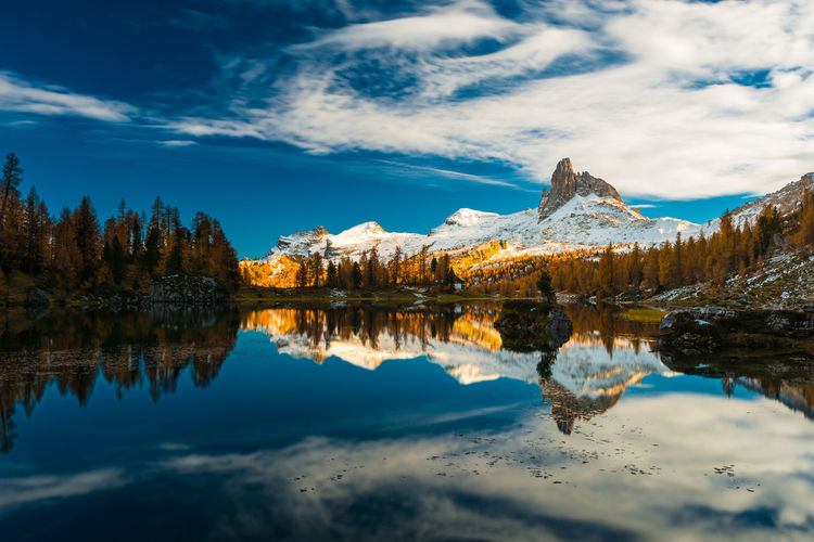 Lago Federa Autumn Beauty In Nature Colors Dolomites Dolomiti Fall Horizontal Symmetry Idyllic Italy Lake Landscape Majestic Mountain Nature Outdoors Reflection Remote Scenics Tranquility Water
