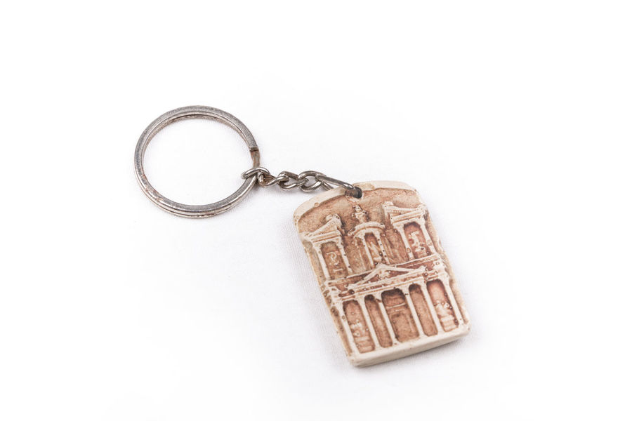 Petra, Jordan keychain on a white background Ancient Chain Civilization Collection Engraved Gift History Jordan Key Key Chain No People Petra Single Object Souvenir Tourism Travel Trip White Background