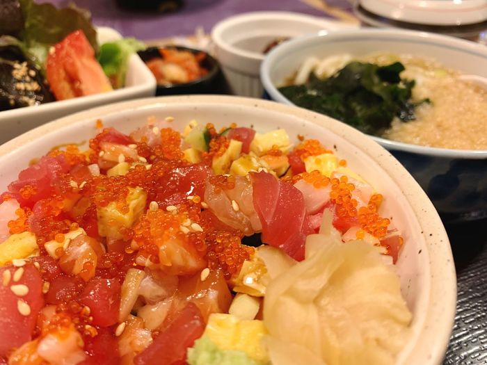 Japanese food Lunch Dinner Menu Set Sashimi Rice Bowl Japanese Food Food And Drink Food Freshness Ready-to-eat Healthy Eating Wellbeing Close-up Bowl Serving Size Asian Food