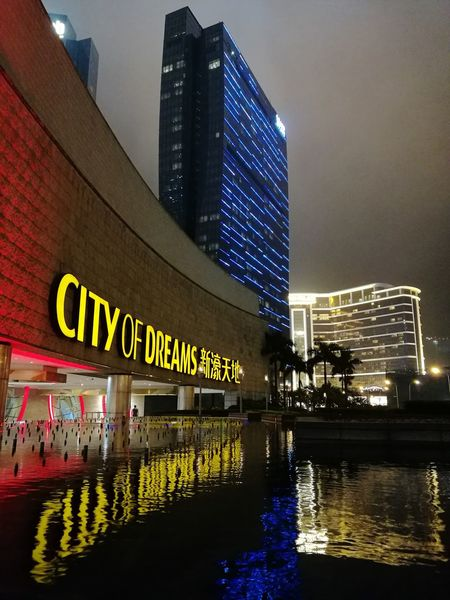 City of Dreams Macau City Of Dreams Architecture Skyscraper Reflection Night Illuminated Urban Skyline