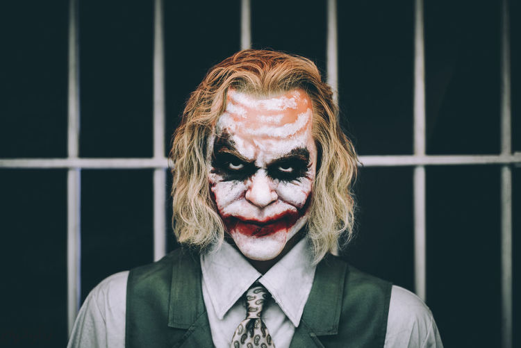 Serious One Person Adult Headshot Portrait Men Disguise Prison Day Young Adult Canada Batman Joker Face Paint EyeEmNewHere City Hair Paint Close-up Display Wax Figure Museum Niagara Falls Beautiful People EyeEm Selects