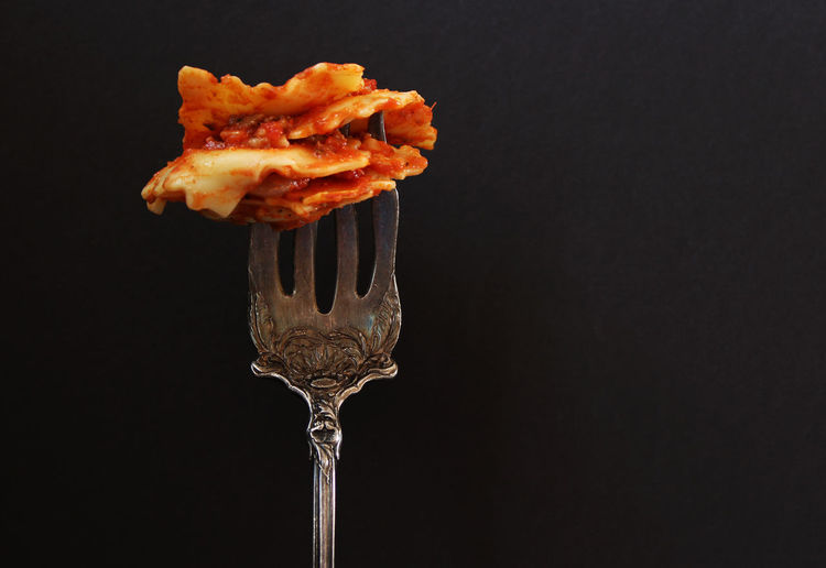 Ravioli Concepts Copy Space Eating Fork Meal Ravioli Tomato Sauce Beautiful Food Black Background Close-up Delicious Fine Dining Food Food And Drink Freshness Healthy Eating Indoors  Italian Food No People Pasta Ready-to-eat Restaurant Still Life Studio Shot Vintage