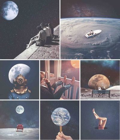Warking♡ Man On The Moon Moon сюрреализм Human Body Part Astronomy Indoors  Multiple Image Space Human Skull