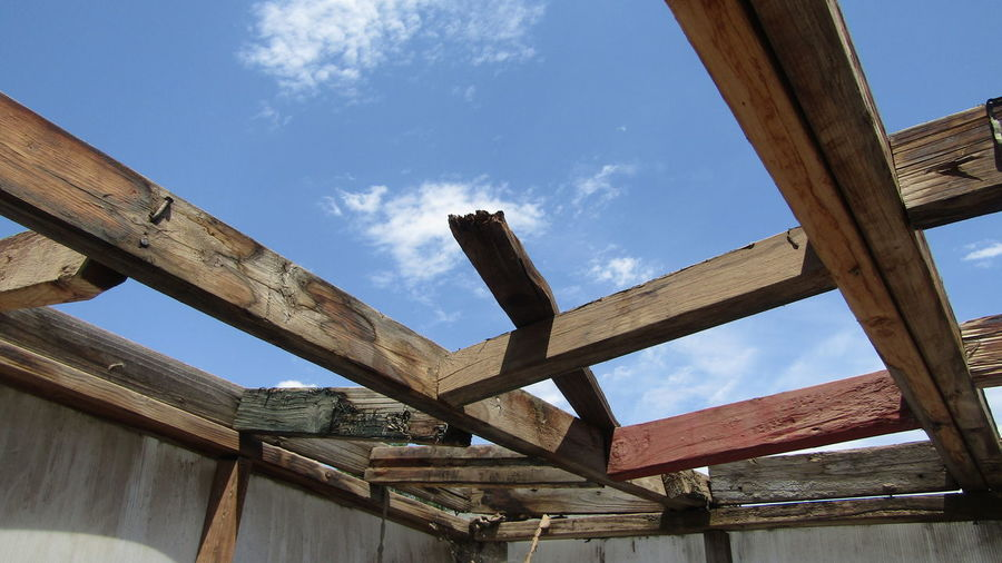 Low Angle View Of Frames For Building Roof