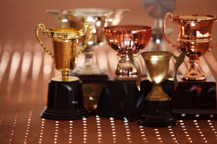 Trophies on table