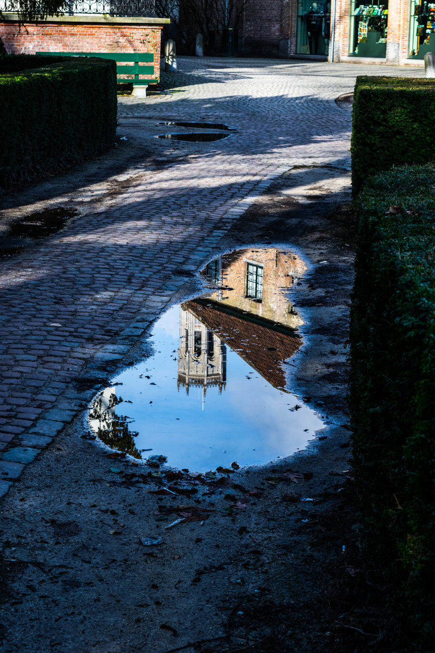 water, reflection, puddle, day, no people, architecture, built structure, outdoors, building exterior, nature