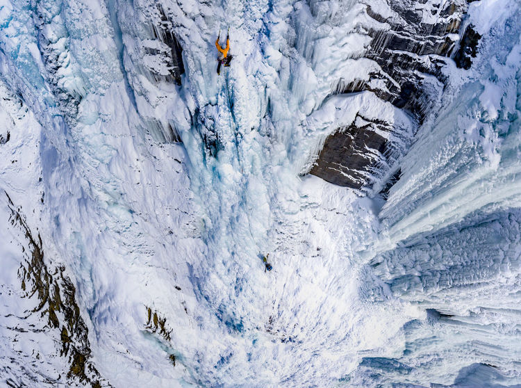 drone photo of devil's punchbowl ice climbing Snow Cold Temperature Winter High Angle View Environment Outdoors Adventure Ice Frozen Mountain Nature Alberta Canada Alberta Iceclimbing Ice Climbing
