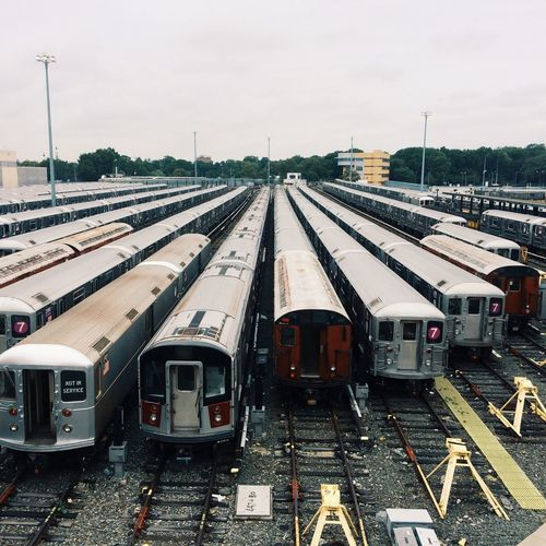 New York New York City NYC Trains Subway Lines City Vanishing Point Industrial Overcast Clouds Cloudy