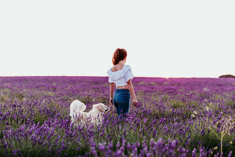 Rear view of woman standing with dog on field against sky