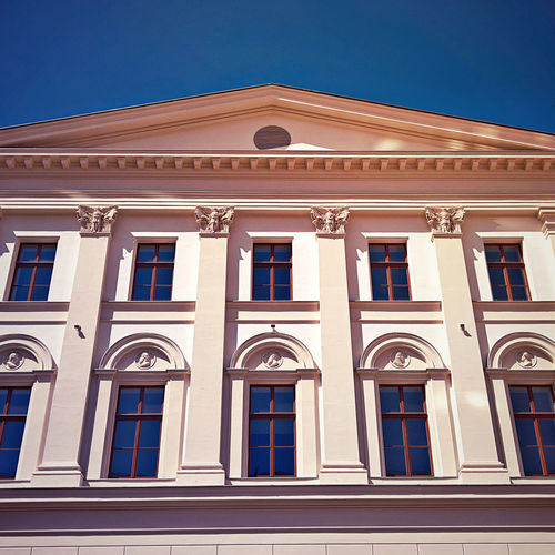 Academy Architectural Feature Architecture Blue Budapest Building Building Exterior Built Structure Capital Cities  Classicism Day Exterior Façade Hungary Low Angle View Ludovika No People Ornate Outdoors Repetition Showcase July Side By Side Sky University