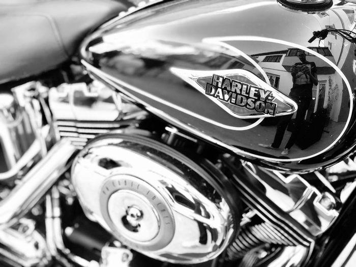 Blackandwhite Moto Harley Davidson Metal Mode Of Transportation Transportation Land Vehicle Close-up Motorcycle No People