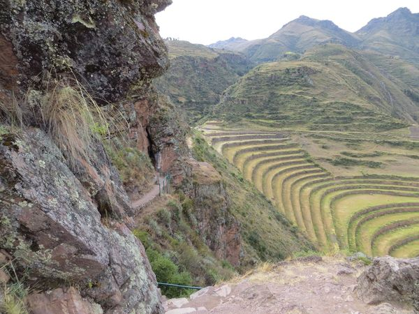 Mountain Nature Travel Destinations Rock - Object Day History Outdoors Ancient Tranquil Scene No People Scenics Landscape Cliff Mountain Range Terraced Field Ancient Civilization Beauty In Nature Sky Peru Inca Ruins This Is Latin America