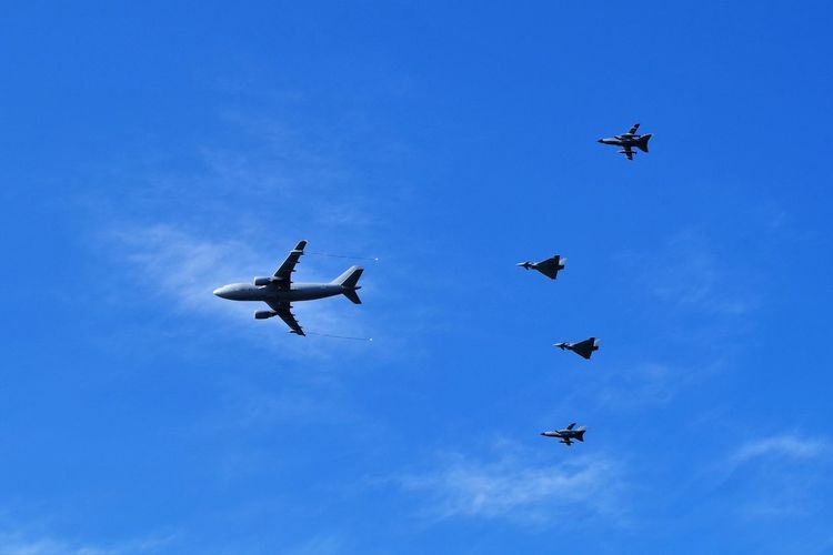 ILA 2018 Aerospace Industry Air Force Air Vehicle Airplane Army Blue Cloud - Sky Day Flying Low Angle View Mid-air Military Mode Of Transportation Motion Nature No People on the move Outdoors Plane Sky Transportation Travel