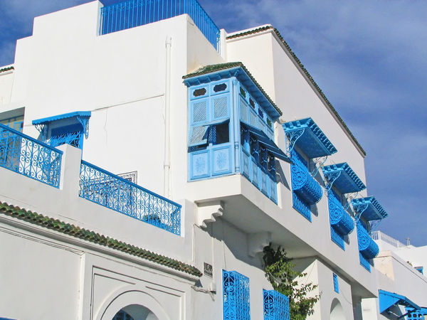 Sidi Bou Said, near Tunis, Tunisia Architecture Modern Sky Blue Day Outdoors Tunisia Sidi Bou Said No People Whitewashed Blue Window Low Angle View Building Exterior Built Structure A Taste Of Tunisia Window Balconies Blue Balconies