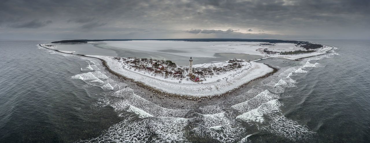 Aerial Shot Baltic Sea Drone  Lighthouse Långe Erik Panorama Sweden Winter Aerial View Clouds And Sky No People Sea Snow Waves Öland