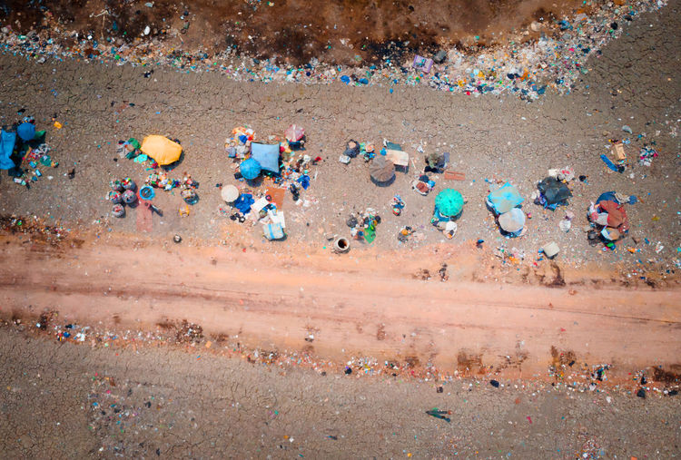 Aerial view of garbage at beach