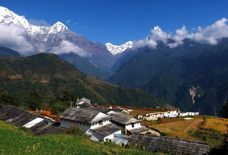 Ghandruk village at Annapurna. Mountain Snow Mountain Range Architecture Scenics - Nature Cold Temperature Beauty In Nature Landscape Environment