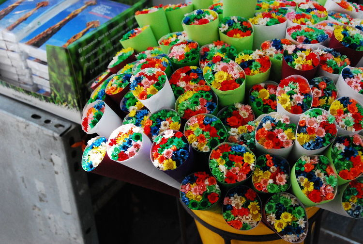 High Angle View Of Flowers For Sale At Market Stall