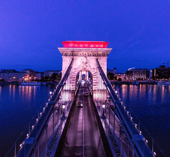 View of bridge against sky at night