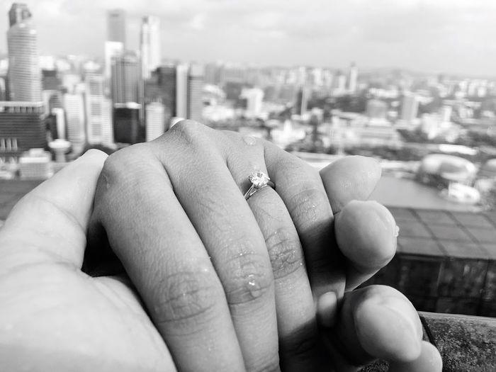 She said YES! Marryme LUCKIESTMAN Engaged Rooftopinfinitypool LetsGetLost