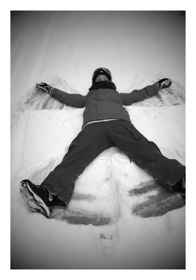 Snow Angel Snow ❄ Blackandwhite Day Full Length Low Section One Person Real People Winter Young Adult Visual Creativity