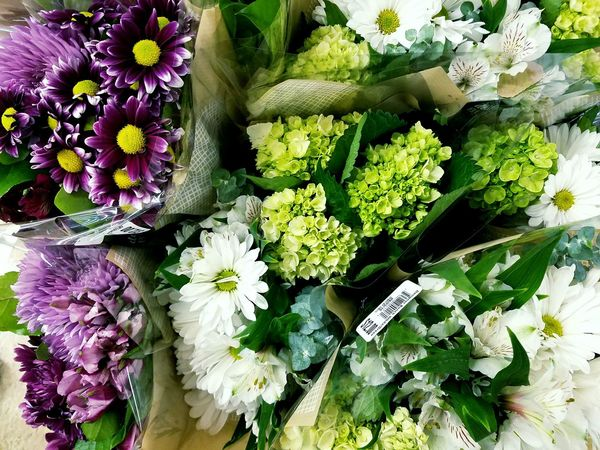 Flowers at the market today. Flower For Sale Market Retail  Bouquet Freshness Nature Pink And Green Colorful Colourful Beautiful Colors Colours Multi Colored Android Cameraphone America Pretty Hydrangea Daisy Purple Pink Green White Wedding