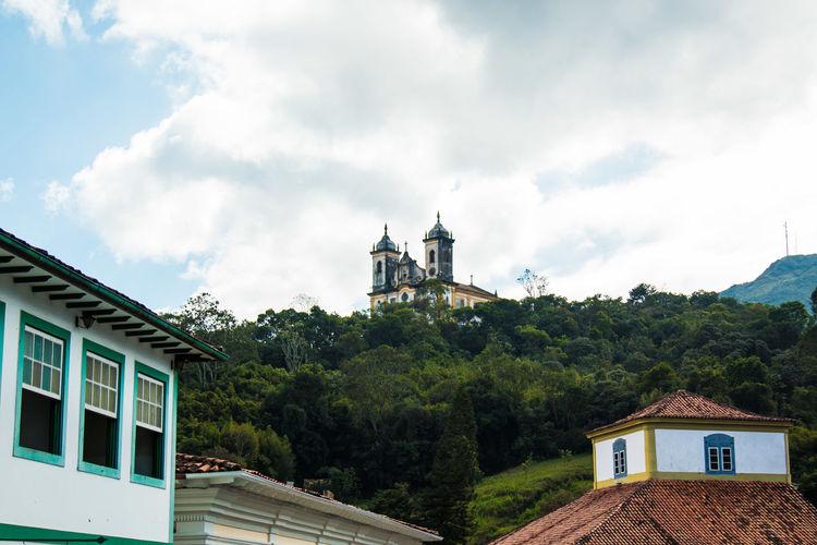 Low angle view of san francisco de paula church against cloudy sky