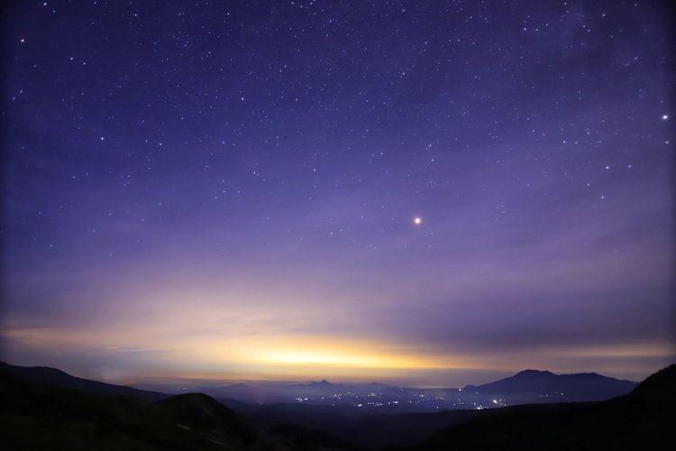 梅雨明けなの?!😳 フルサイズカメラにAPS-Cレンズ😁レンズが欲しい近頃💦 銀河鉄道の夜♪ Landscape Sky Astronomy Galaxy Space Star Trail Milky Way Star - Space Constellation Mountain Moon Snow