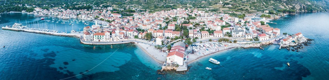 Komiža EyeEmNewHere Panoramic Landscape DJI Mavic Pro Croatia Harbor From Above  Water High Angle View Nature Sea Group Of People Swimming Pool Day
