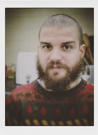 Polaroid version Kris Demey Photography depth of field Bokeh Portrait Photography Polaroid Portrait Facial Hair Beard One Person Looking At Camera Auto Post Production Filter Headshot Front View Transfer Print Real People Men Indoors  Young Men Close-up